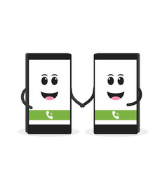 smartphone talking on cell concept cute cartoon vector image