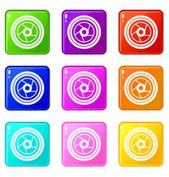 Camera aperture set 9 vector