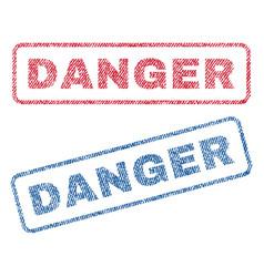 danger textile stamps vector image vector image
