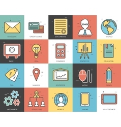 Line icons set of business collection concept vector image