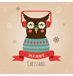 Owl Merry Christmas Card vector image vector image