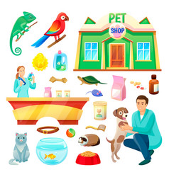 pet shop with animals and products vector image