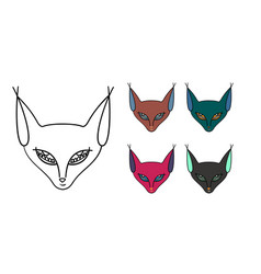 set of five muzzle of a cat-sphinx vector image vector image