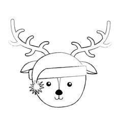 Christmas deer face cartoon vector