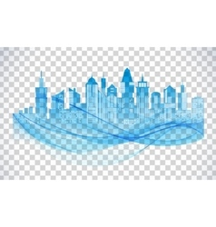 Cityscape blue icon on transparent background vector