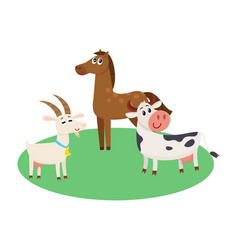 farm horse cow and goat grazing upon the green vector image vector image