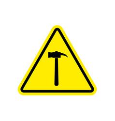 hammer warning sign yellow repair hazard vector image vector image