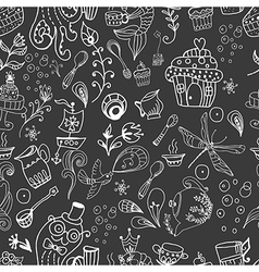 Seamless funny tea time background doodle vector image vector image