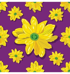 Seamless pattern with yellow flowers on violet vector