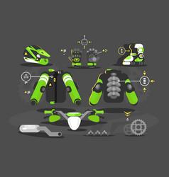 set of equipment for moto cross vector image vector image