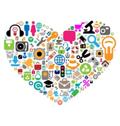 Set of icons in heart shape vector image