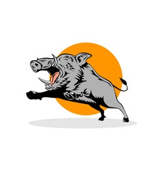 Wild Pig Boar Jumping vector image vector image