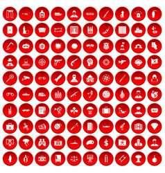100 antiterrorism icons set red vector image