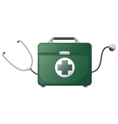 A stethoscope and a medical bag vector image