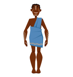 African man with white tattoos in dress tribe vector