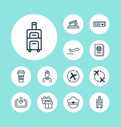 Airport icons set with airliner takeoff airport vector
