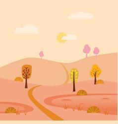 Autumn landscape september month season banner vector