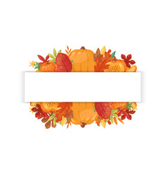 autumn welcome banner with autumnal pumpkin vector image