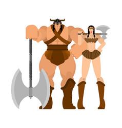 barbarian warrior couple woman and man berserk vector image