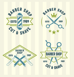barbershop set of colored labels vector image