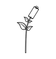 Battery with leafs plant vector