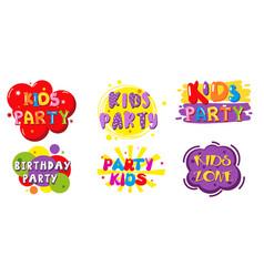 Birthday party kids zone label banner set vector