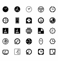 Black Clocks Icon Set vector image