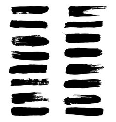 black ink brush strokes set brush vector image