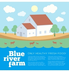 Blue River Farm Flat Style Background vector