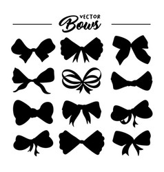 bows silhouettes hand drawn set vector image