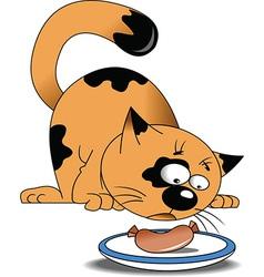 Cartoon cat eating sausage vector