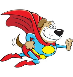 Cartoon dog dressed as a super hero vector
