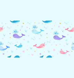 children pattern with pink narwhal and blue whale vector image