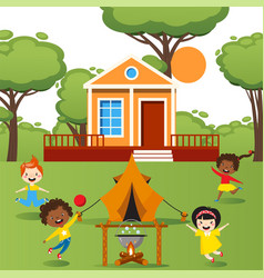 children playing with tent outdoor happy kids vector image