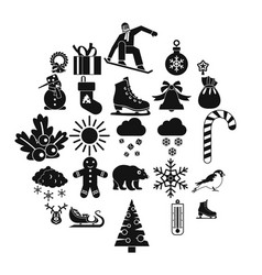 christmas holidays icons set simple style vector image
