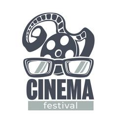 cinema festival movie fest banner with filmstrip vector image