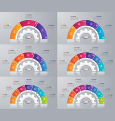 Collection circle chart templates vector