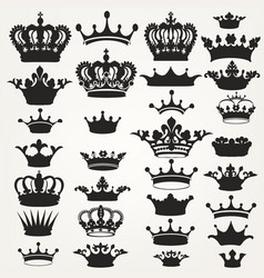 Collection royal crowns for design vector