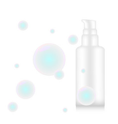 cosmetic mockup 3d pump bottle with water soap vector image