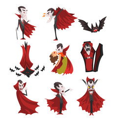 count dracula set vampire cartoon character in vector image