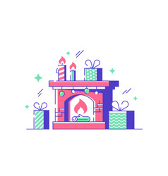 Cozy new year fireplace vector