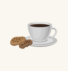 Cup of fresh coffee and two delicious cookies with vector