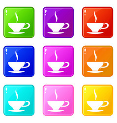 Cup of tea icons 9 set vector
