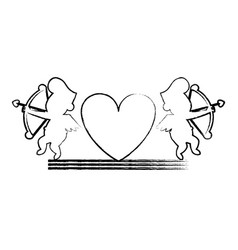 Cupids and hearts silhouettes sketch vector