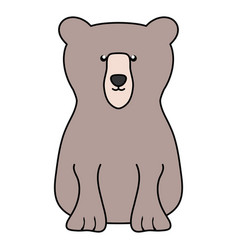 Cute bear grizzly animal character vector
