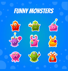 Cute funny monsters collection funny aliens vector