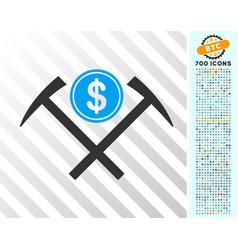 Dollar mining hammers flat icon with bonus vector