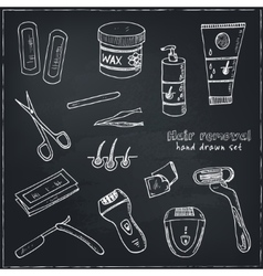 Doodle set hair removal tools vector