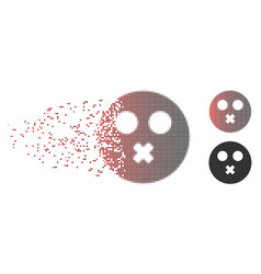 dust pixel halftone mute smiley icon vector image