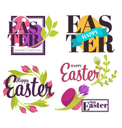 Easter holiday isolated icons flowers and colored vector